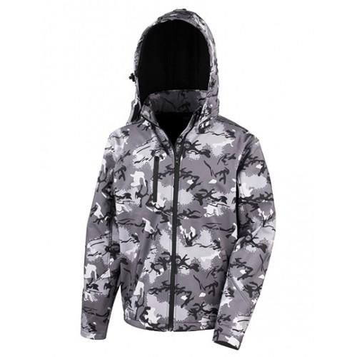 Softshell bunda s kapucí TX - Kamufláž šedá