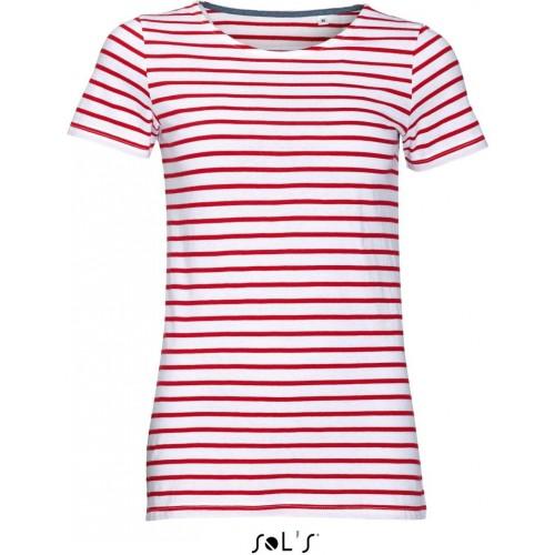 Pruhované tričko SOL'S Červeno-černé - dámské