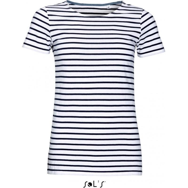 Pruhované tričko SOL'S Bílo-Modré - dámské