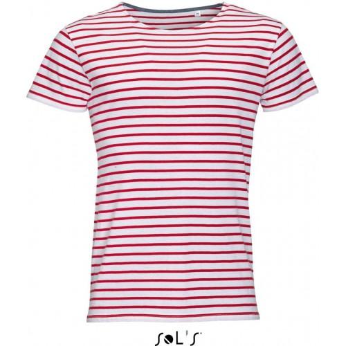 Pruhované tričko SOL'S Bílo-červené- Pánské