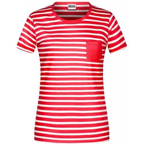 Pruhované tričko Bílo-červené JN - dámské