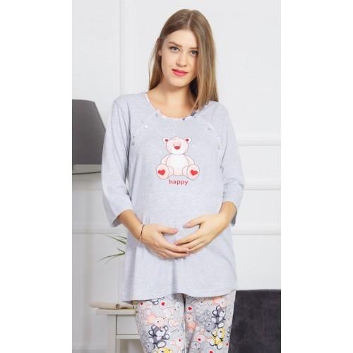 Dámské pyžamo dlouhé mateřské Méďa Happy