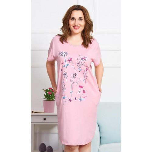 Dámské domácí šaty s krátkým rukávem Flowers