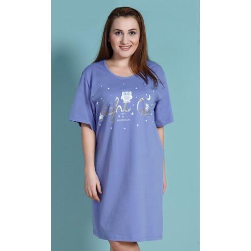 Dámská noční košile s krátkým rukávem Sovy a hvězdy